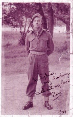 Taken in 1948 during the first few days of Ron Moss army days. Ron was in the Royal Army Medical Corps Crookham, Aldershot, then posted to Egypt.