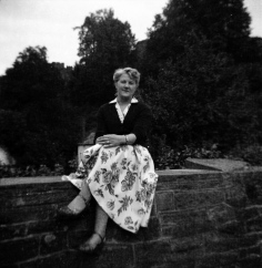 Ron's wife Sylvia Moss taken at Dalvine Road Dudley Wood in 1954
