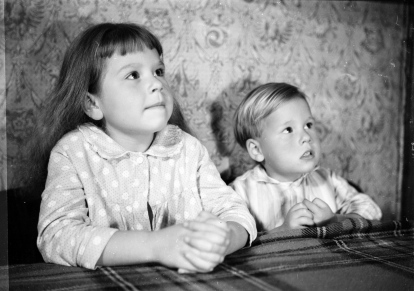 "Ron's son Gary aged 2 and daughter Cheryl aged 5 taken in 1960 from Ron's ""family portrait gallery!"""