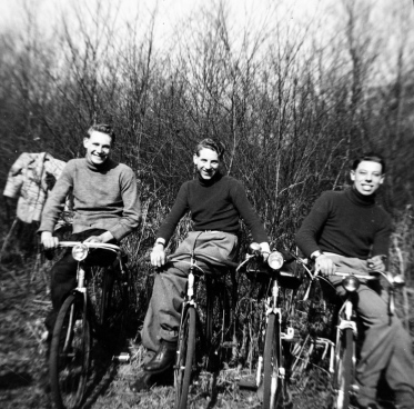 Cycle group taken in 1950 – Ron's Brother Ken Moss on the right and 2 of their friends