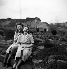 Ron's wife Sylvia (nee Griffiths) and her work colleague Lily Cox in their work overalls taken in 1952. They worked at the Valeting Service in Cradley Road, Cradley Heath (along with most of the women of Cradley Heath around that time).