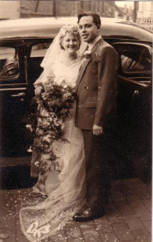 "3rd October 1953 Ron and Sylvia wedding day at St Luke's Church, ""Four Ways"", Cradley Heath."